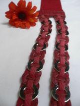 Femme Hip Taille Élastique Deux Rangs Argent Anneaux Métal Rouge Mode Ceinture image 10