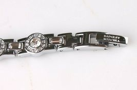 New Badgley Mischka Silver Crystal Accented Pearl Face Dress/Formal Watch NIB image 6