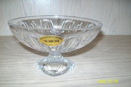 Block Crystal Clear Candy Dish Czech Republic 24% Lead Crystal Hand Made - $9.95