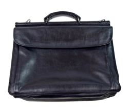 Vtg Black Leather Doctor Hand Bag Briefcase Satchel Flap Attache Laptop ... - $29.69