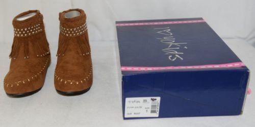 I Love Yo Kids AVA 78K Girls Fringe Boot Rust Silver Studded Size 1