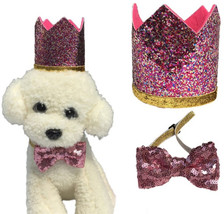 New Pet Cat Dog Birthday Bowknot Costume Headwear Caps Hat Birthday Part... - $20.35+