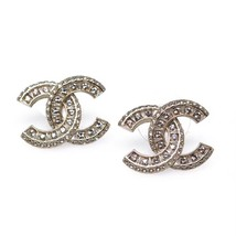 AUTHENTIC CHANEL XL LARGE CRYSTAL CC LOGO STUD GOLD EARRINGS