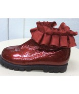 Girls CRIMSON PATENT BOOTS KENNETH COLE Dark Red Shoes SATIN RUFFLE 6.5 ... - $28.91