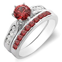 Rd Red Garnet & White Cz Diamond 925 Sterling Silver Bridal Engagement Ring Set - $95.99