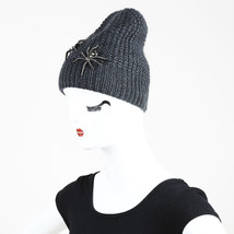 Jennifer Behr Gray Ribbed Knit Crystal Spider Embellished Beanie Hat - ₨9,471.62 INR