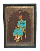 Vintage Indian King Portrait on Chair in Cloth Work Portrait (Hand Made)... - $116.62