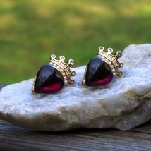 Vintage trifari tm red heart cabochon crown w rhinestone dangle pierced earrings thumb200