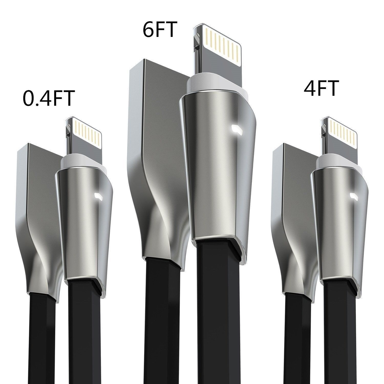Aimus [3-Pack] Lightning Cable w/ LED Light [0.4FT+4FT+6FT] Zinc Alloyed Conn...