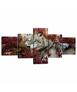 Yatsen Bridge Modern Stretched and Framed Wolf Canvas 5 Panels Grey Wolf... - $46.31