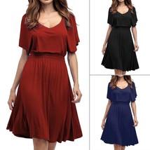 Women Elegant Style Flared Sleeves V Neck Above Knee Length Dress Elastic Waists - $27.70+