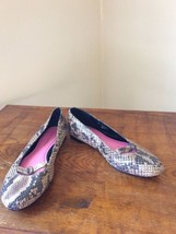 "Isaac Mizrahi ""Anna"" Leather Snake print Flats Women's 5.5 M Worn 1 time - $19.95"