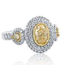 1.57 Carat Yellow Oval Cut Pear Side Diamond Engagement Halo Ring 18k Wh... - €2.745,01 EUR