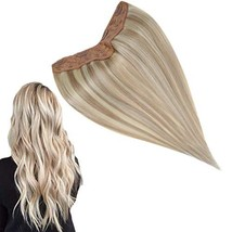 RUNATURE Clip On Hair Extensions Human Hair 16 Inch 1 Piece Real Human Hair V Sh
