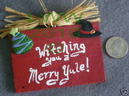 Red Witching You Merry Yule Wicca Sign Handmade NEW - $4.99