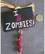I Love (HUMAN HEART) Zombies Small Sign Handmade NEW  - $6.99