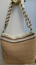SAK crochet bag, light tan with cream, brown and pink stripes & braided ... - $27.99