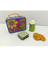 American Girl Julie's lunchbox lunch set 70s tin floral thermos sandwich chips - $32.66