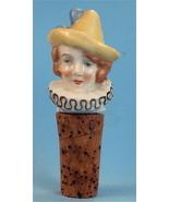 German Antique Flapper Clown China Bottle Stopp... - $95.00