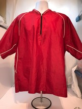 Mizuno Mens Large Red Breathable Baseball Warm Up Pull Over Short Sleeve - $18.70