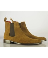 Handmade Chelsea Boot Brown Color Side Elastic Slip On Suede Leather Boo... - $149.99+