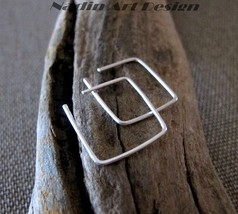 Square shaped Hoop Earrings 15mm in Sterling Silver - $21.00