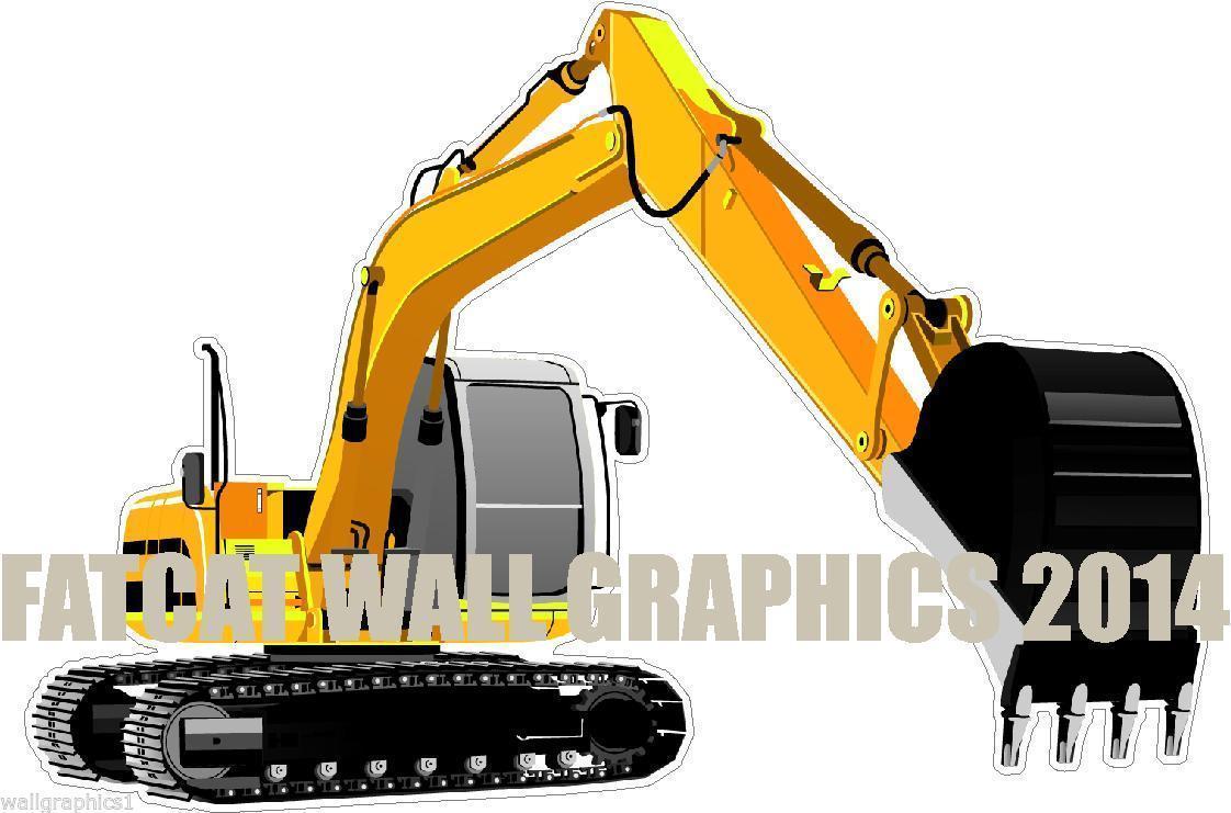 Heavy Equipment Decals : Excavator track hoe heavy construction equipment wall