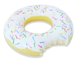 Swim About Large Donut Swim Ring Tube Pool Inflatable Floats for Adults (White)