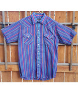 Panhandle Slim Western Shirt-16.5-Purple Striped-Pearl Snap Button-Cowbo... - $31.78