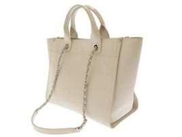 CHANEL Tote Bag Grained Calf Leather Off White CC Studs A57069 Italy Aut... - $3,028.30