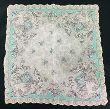 Vintage Hankie White & Mint Green Man Carriage Woman in Gown Dog Keys Le... - $18.32