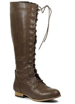 Brown Faux Leather Lace Up Knee High Tall Military Combat Boot 5.5 us Wild Diva - $19.99