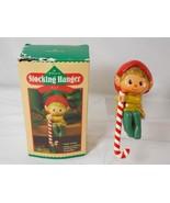 Hallmark Christmas Stocking Hanger Shelf Sitter Elf 1984 Vintage QSH816-5  - $18.80