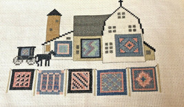 Finished Cross Stitch Picture Amish Barn Scene Buggy Quilts Horse Folk A... - $24.74