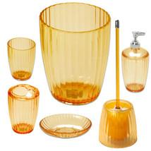 6 Piece Set- Orange Ribbed Acrylic Bath Accessory - $43.99