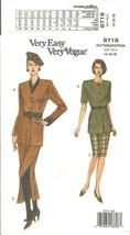 Vogue 8718 Very Easy Misses & Petite Jacket Top & Skirt Size 14,16,18 Uncut FF - $12.47