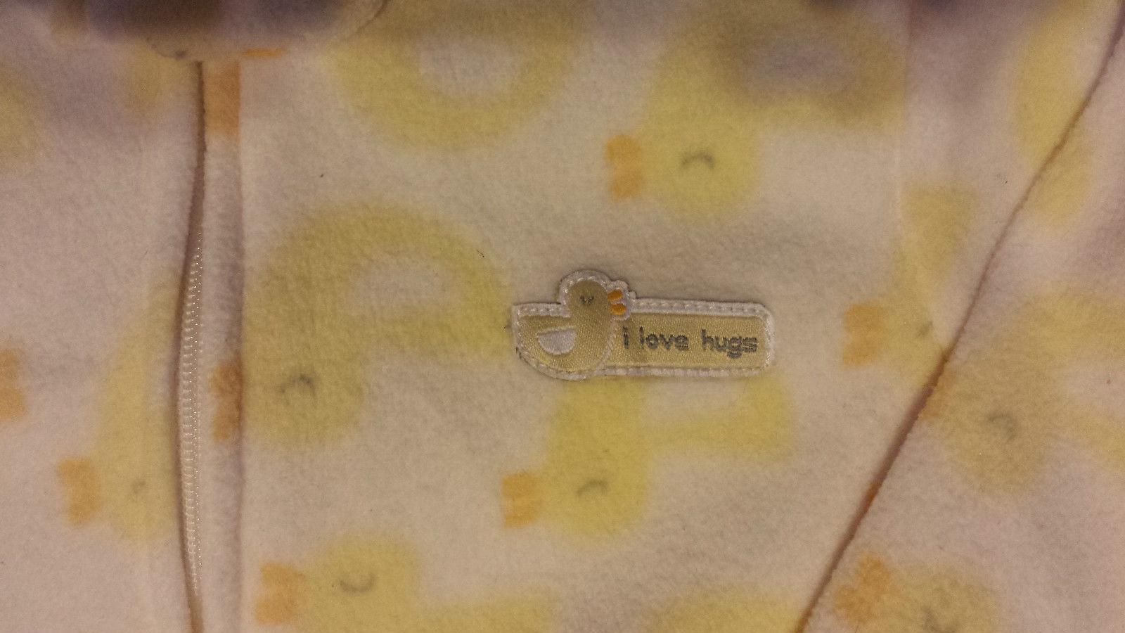 "Girl's Boy's 0-3-6-9 M OS Carter's Yellow Ducky ""I Love Hugs"" Fleece Sleep Sack"