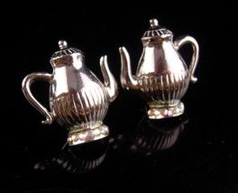 UNUSUAL silver teapot earrings - victorian tea - Vintage Signed jewelry ... - $70.00