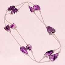 "African Amethyst Gemstone Handmade Fashion Jewelry Necklace 36"" UK-2358 - $6.80"