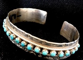 Zuni Native American Sterling Silver Blue Turquoise Petite Point Bracele... - $138.85