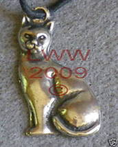 Pewter Familiar Cat's Love Amulet Necklace Pendant NEW - $5.85