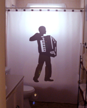 SHOWER CURTAIN Accordion Player music squeezebox bellow - $68.00