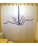 SHOWER CURTAIN Chandelier Tree Blue Bird Cherry Blossom - $100.00