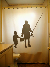 SHOWER CURTAIN Fishing Trip Family Father Child Fish - $75.00