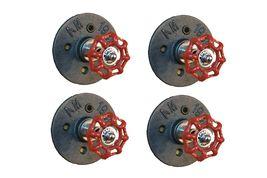 4-Pack Industrial Pipe Knob Hook D - red handle, urban, steampunk, rustic - $45.99