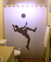 SHOWER CURTAIN Soccer Player football world cup ball - $65.00