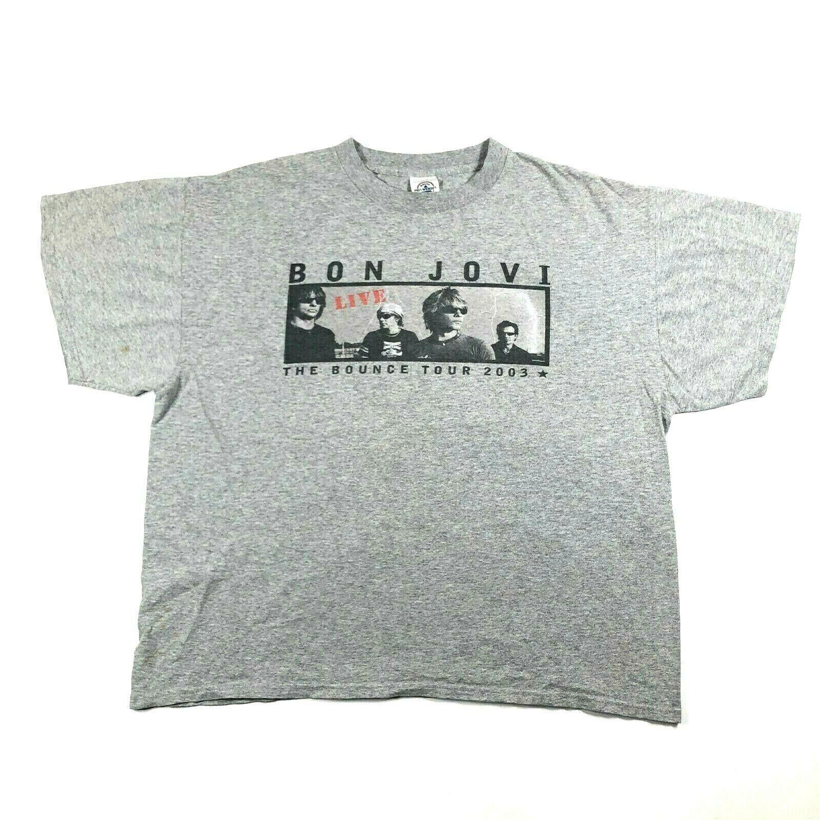 Bon Jovi Bounce 2003 Tour Gray Tee T Shirt Mens XL Boxing Gloves Names - $14.03