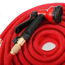 Mogobe Red Water Garden hose 100ft with Solid Brass Fittings, 8 Function... - £47.53 GBP