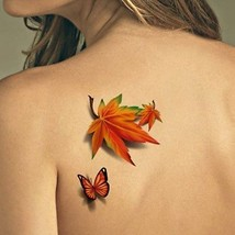 TAFLY Temporary Tattoos 3D Butterfly And Maple Leaf Waterproof Body Art 5 - $9.98