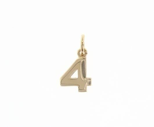 18K YELLOW GOLD NUMBER 4 FOUR PENDANT CHARM, 0.7 INCHES, 17 MM, MADE IN ITALY